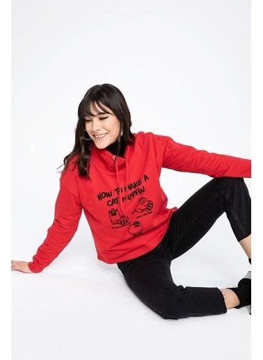 DeFacto Baskılı Yarım Balıkçı Yakalı Relax Fit Sweatshirt Kırmızı